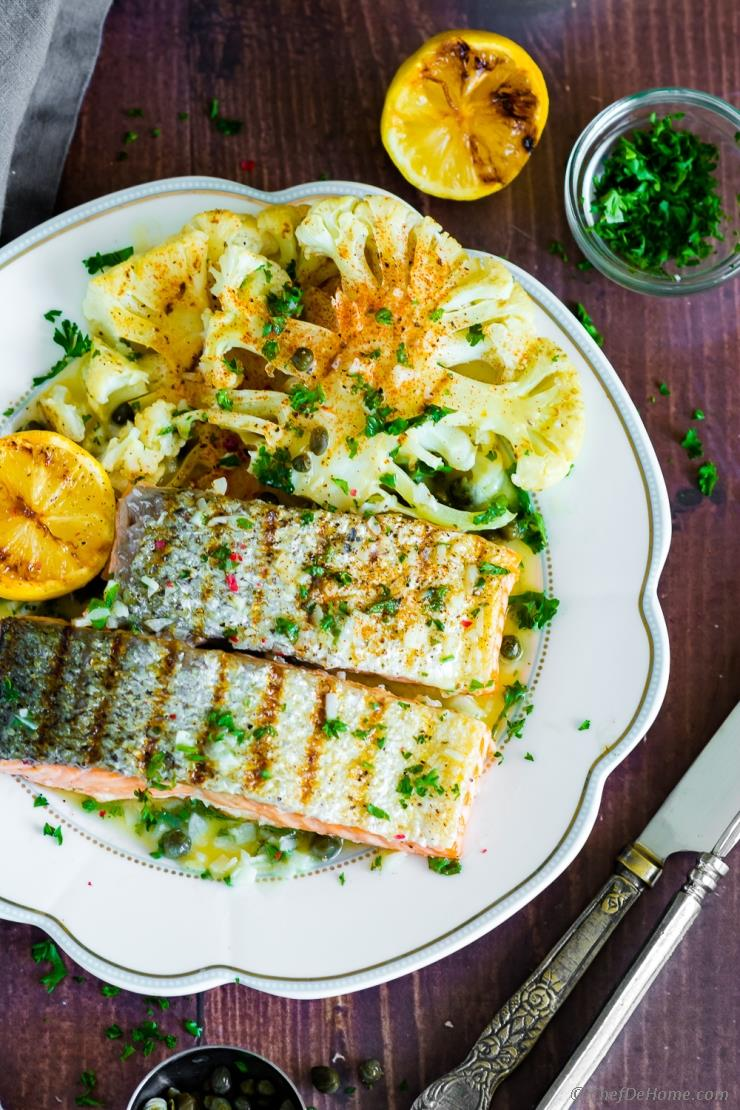 Grilled Salmon With Lemon Butter Sauce Recipe Chefdehome Com