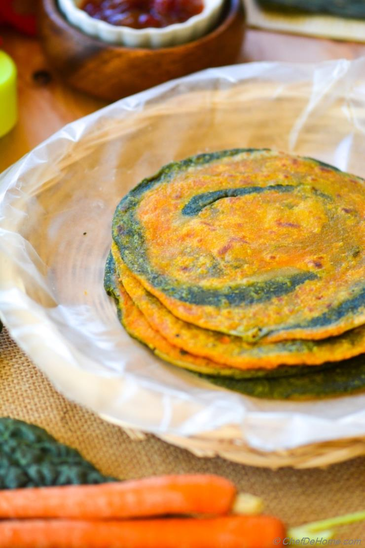 Kale and Carrot Whole Wheat Flat Bread