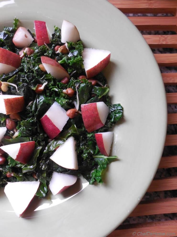 Kale Salad with Sweet Pear and Black Chickpea Sprouts