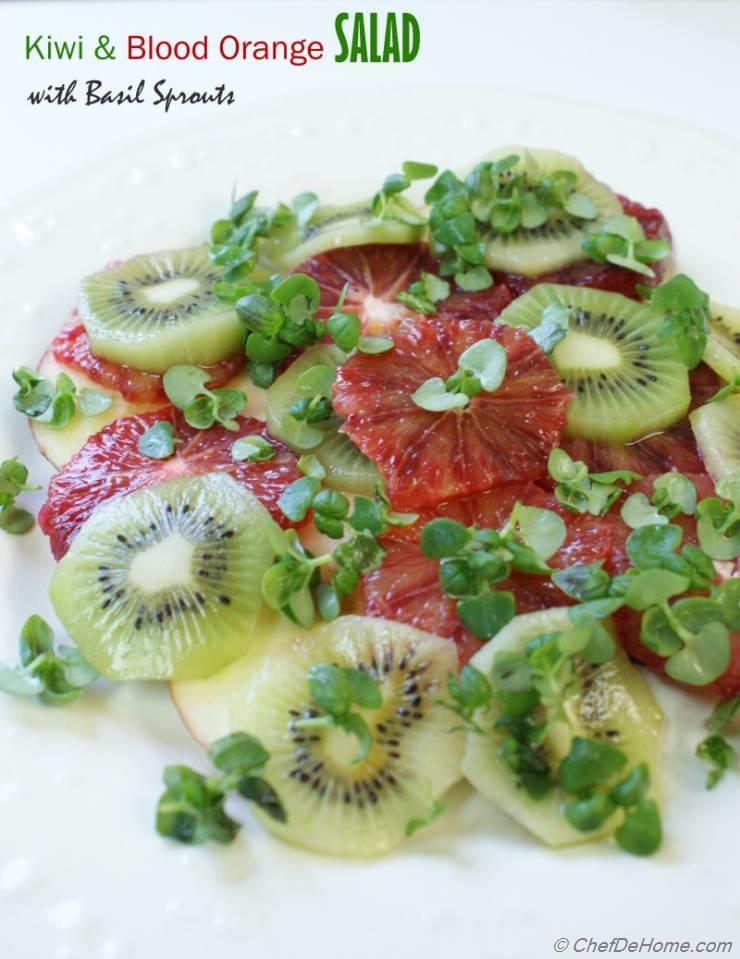 Kiwi, Apple & Blood Orange Salad with Basil Sprouts