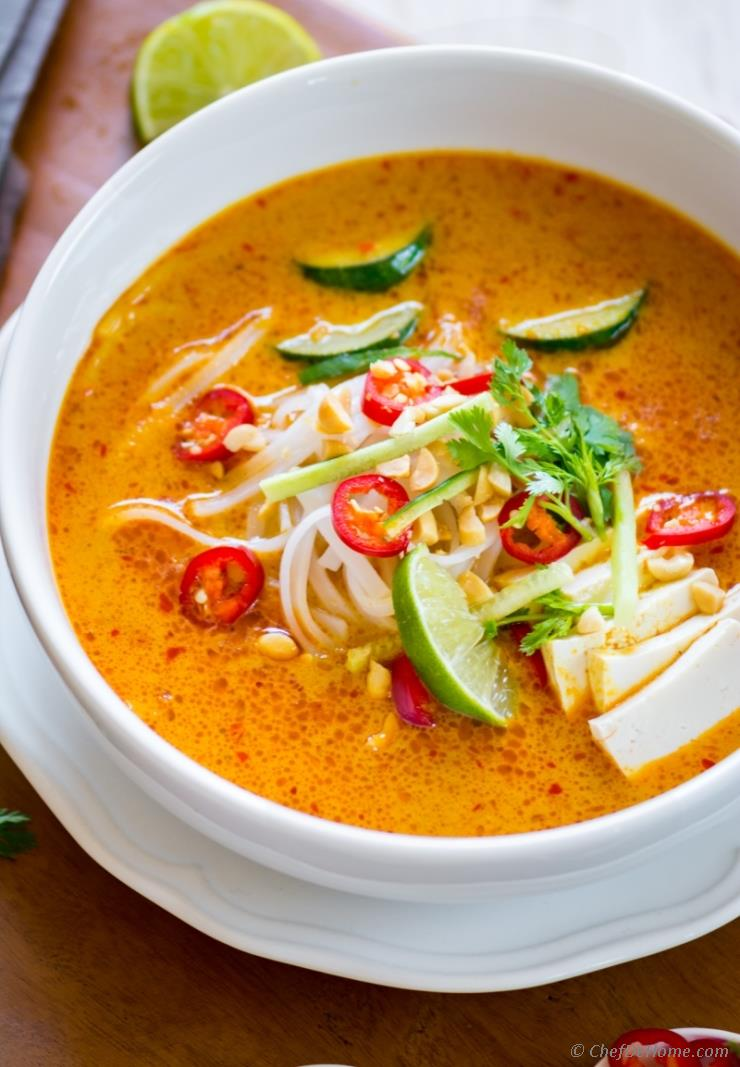 Laksa soup recipe chefdehome starting monday with a flavorful meatless vegetarian coconut curry soup made with malaysian style red curry paste called laksa just like any other glorious forumfinder Choice Image