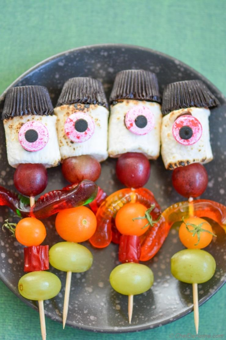 Creepy Stick-Men Marshmallow Candy Kabobs