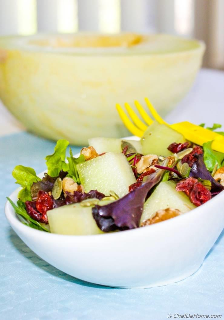 Melon Walnut Salad with Lite Lemon Dressing