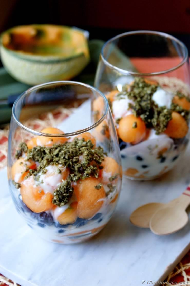 Melon, Blueberry and Yogurt Parfait with Hemp Cereal