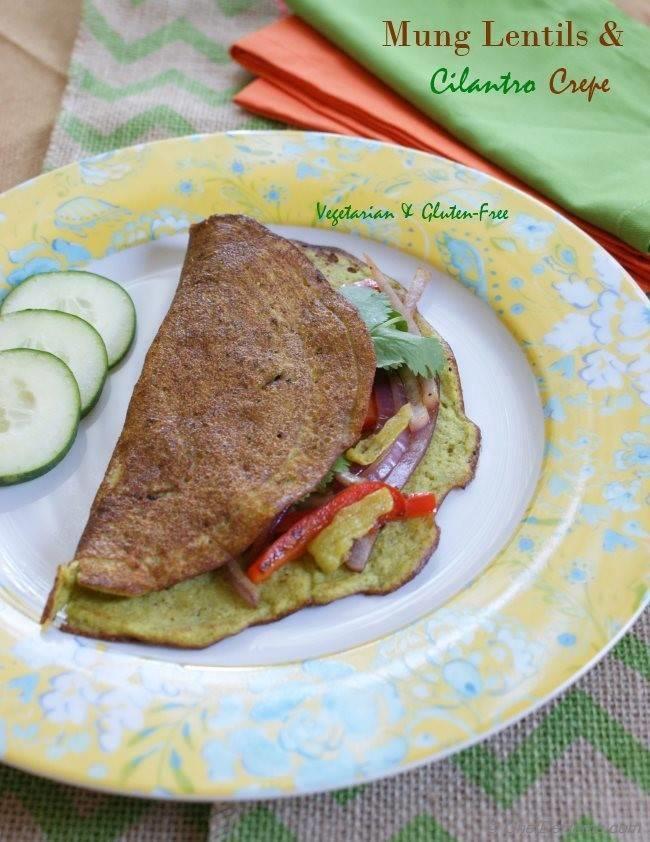 Go-Green Mung Lentils, Cilantro-Jalapeno Breakfast Crepes
