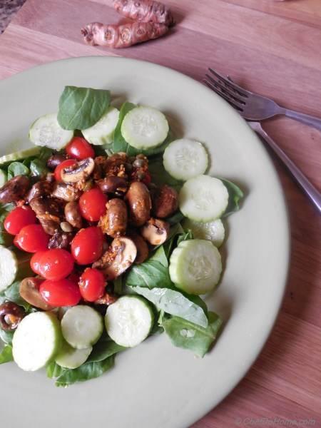 Cucumber and Mushroom Salad with Turmeric Vinaigrette