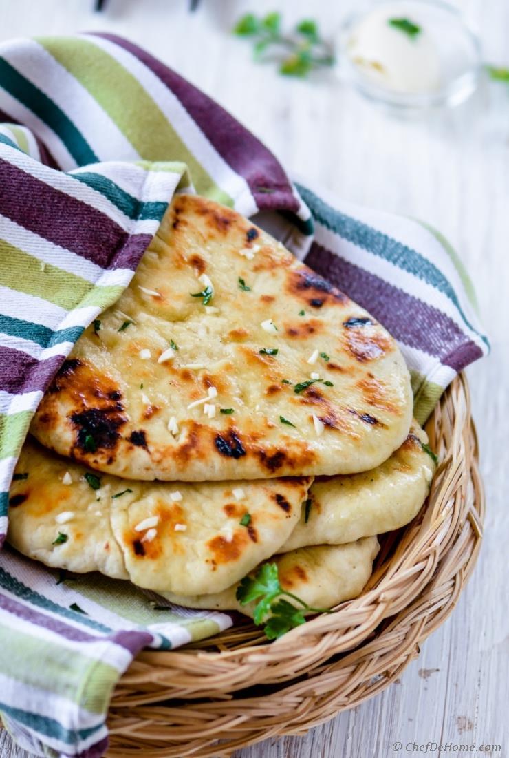 Homemade No Yeast Garlic Butter Naan