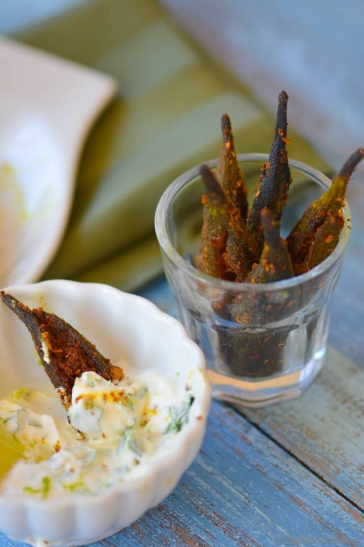 Spicy Baked Okra Fries with Homemade Creole Spice and Lime-Cilantro Dip