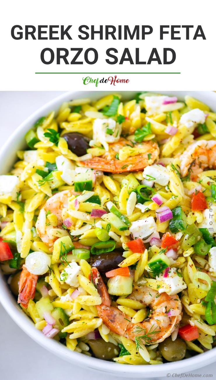 Greek Orzo Pasta Salad with Grilled Shrimp