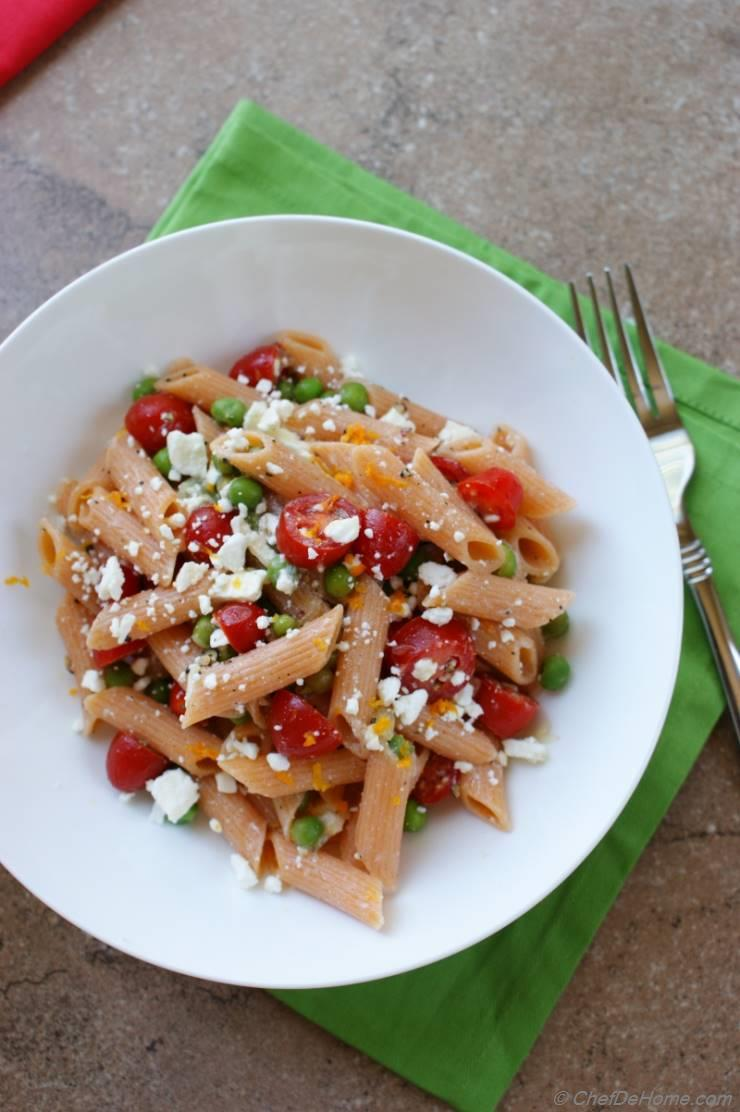 with you easy pasta salad recipe with sweet grape tomatoes, feta ...