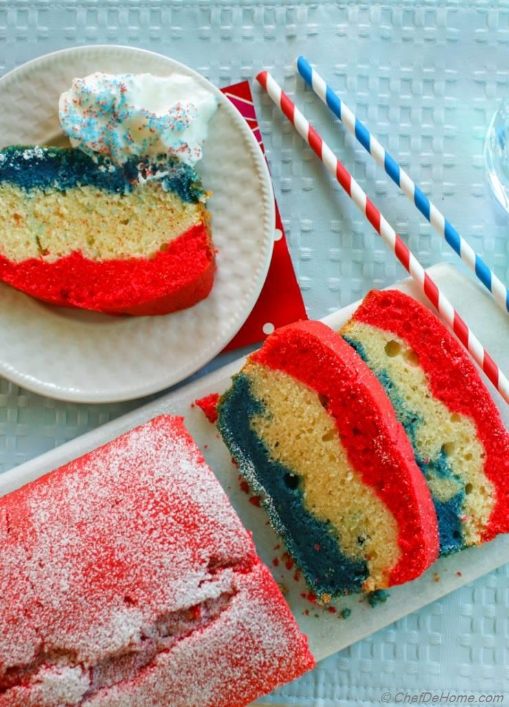 Patriotic Tri-Color Pound Cake