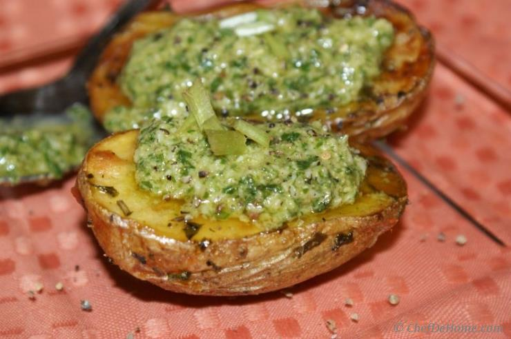 Baked Rustic Potatoes with Basil Pesto