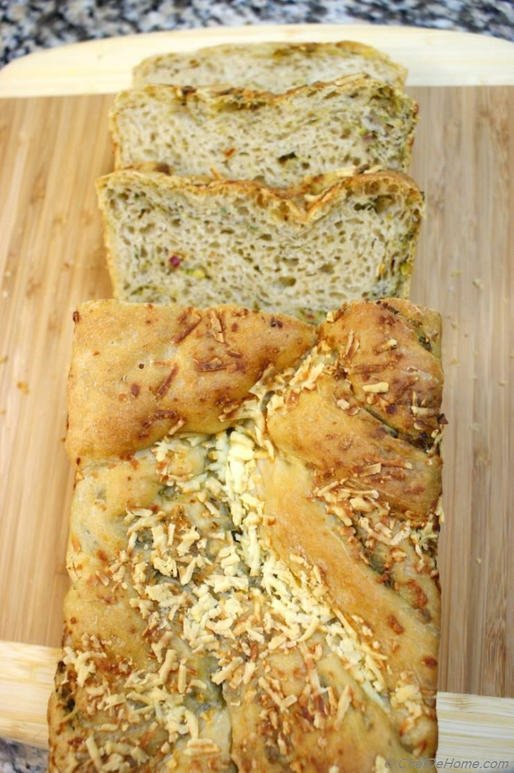 Mixed Wheat Bread Spiced with Pistachios-Olives Pesto