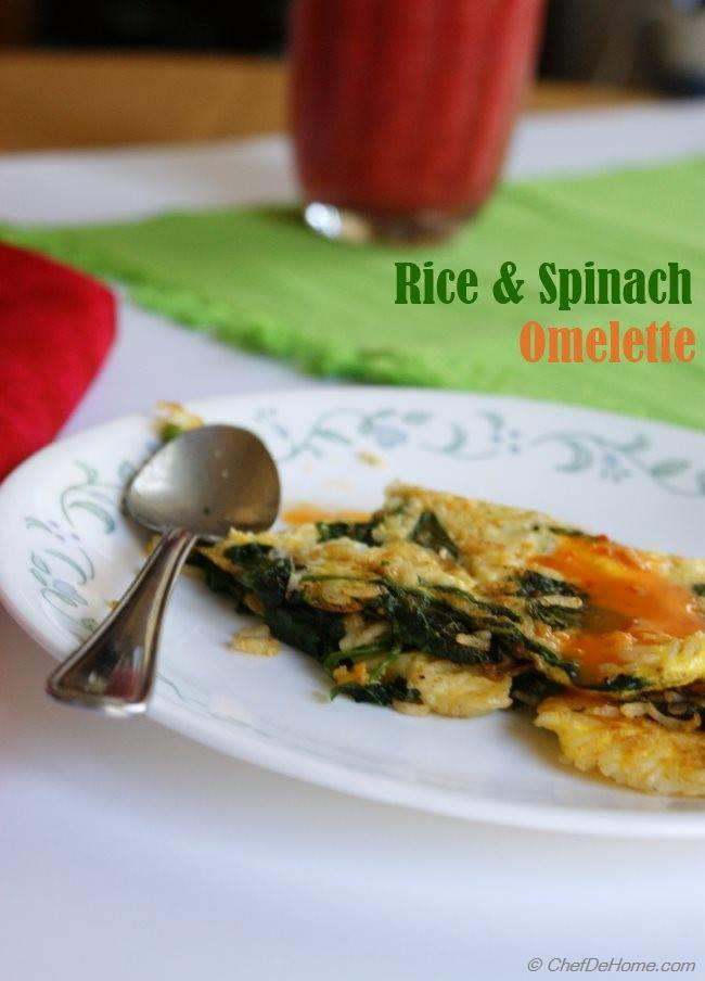 Rice and Spinach Omelette