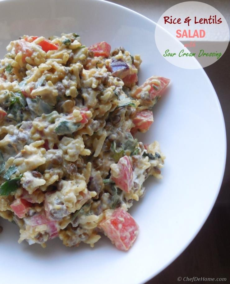 Creamy, Tangy Rice & Lentils Salad with Sour Cream Dressing