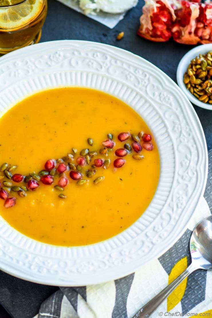 Roasted Butternut Squash Soup with Goat Cheese