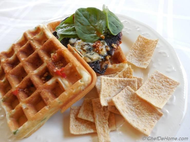 Savory Waffle and Grilled Portobello Sandwich