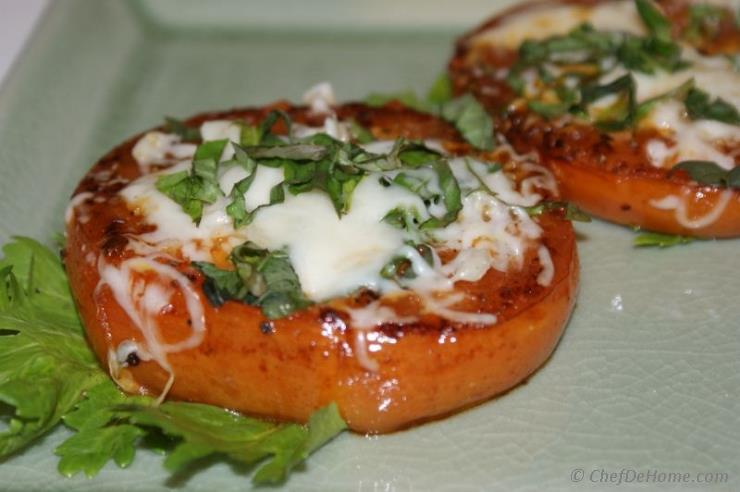Pan Seared Tomatoes with melted mozzarella