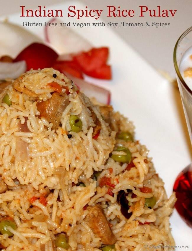 Indian Spicy Rice Pulav with Soy Nuggets, Tomatoes and Spices