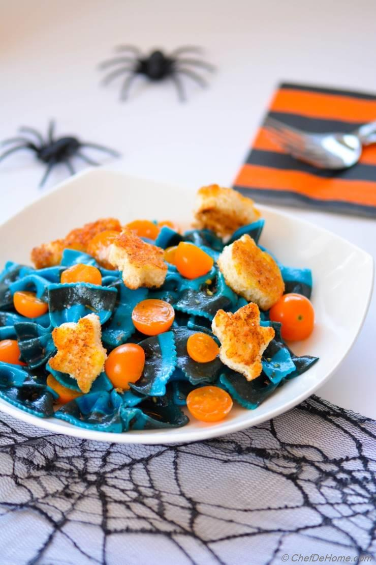 Spooky Lemon Butter Noodles with Witch Croutons