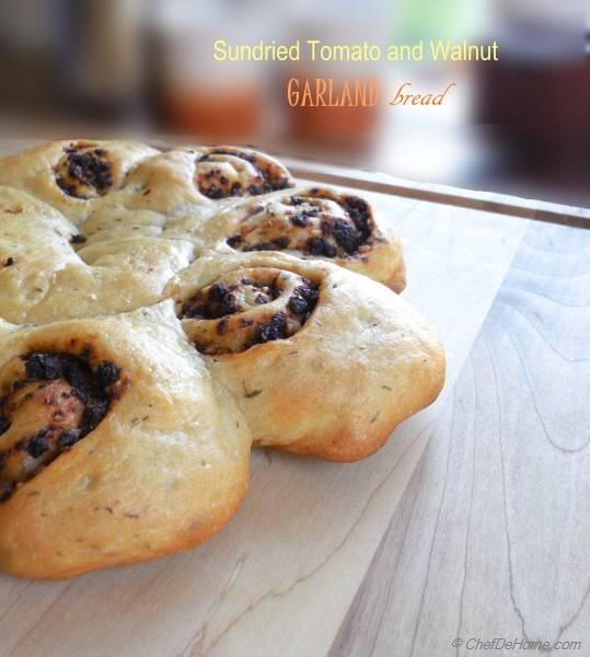 Sun-Dried Tomato and Walnut Garland Bread