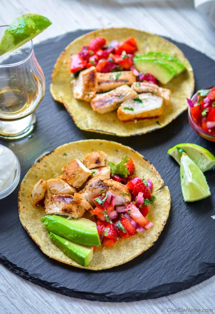 Flavorful and juicy Tequila-lime marinated grilled chicken tacos with ...