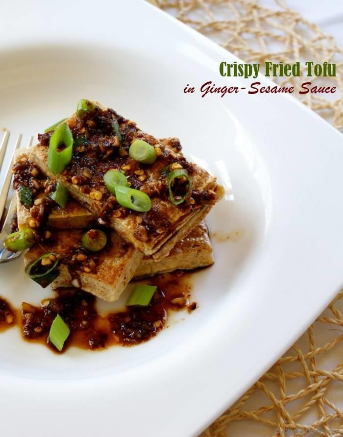 Crispy Fried Tofu with Ginger-Sesame Sauce