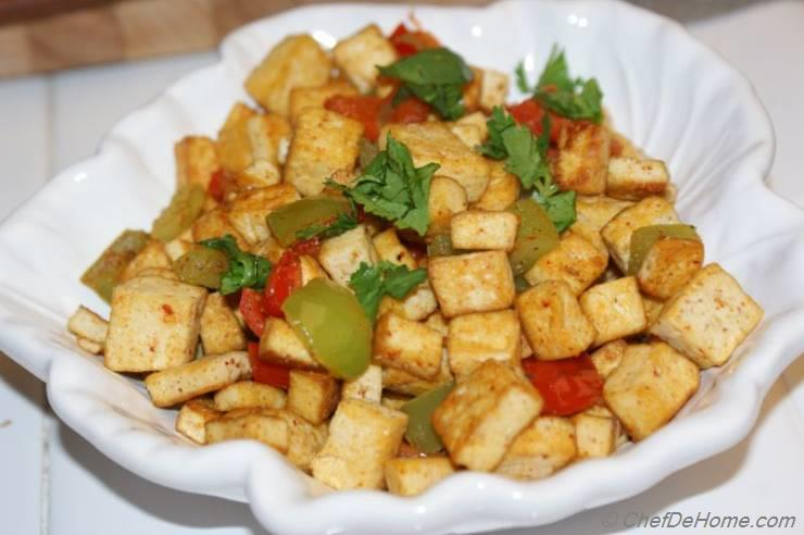 Pan Fried Tofu and Bell Peppers