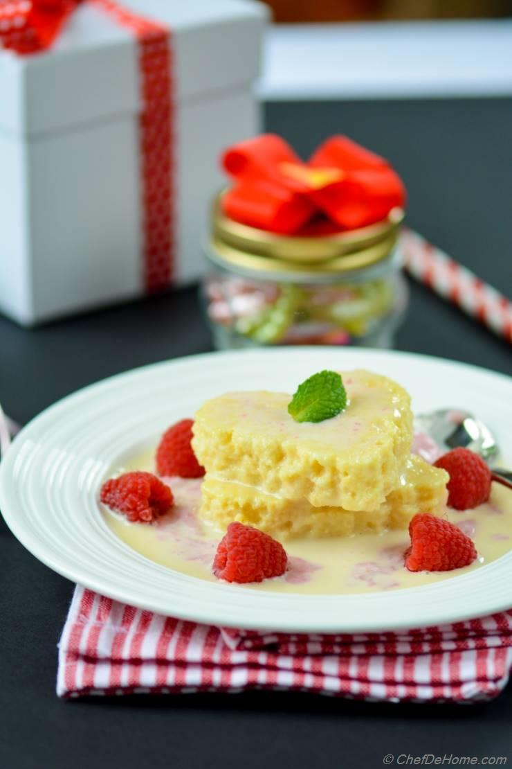 Tres Leches Cake Hearts with Raspberry-Cream Sauce