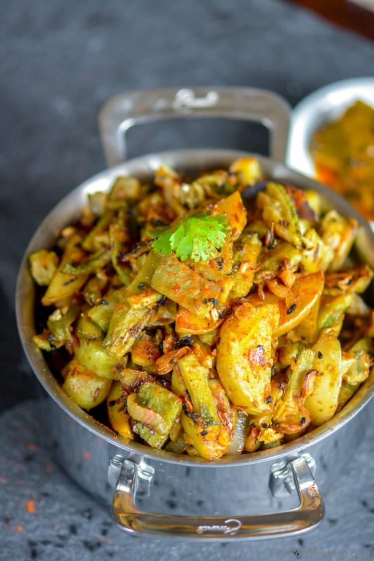 Healthy Indian Achari Aloo Karela | chefdehome.com