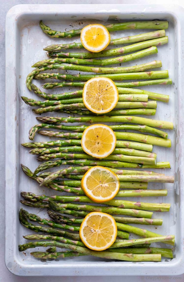 Ready to Roast Asparagus on Sheet Pan with Lemon