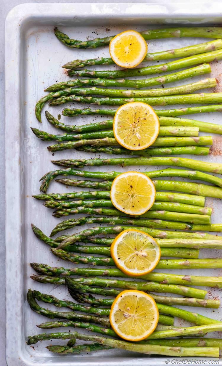 Roasted Asparagus on Sheet Pan just out of the oven