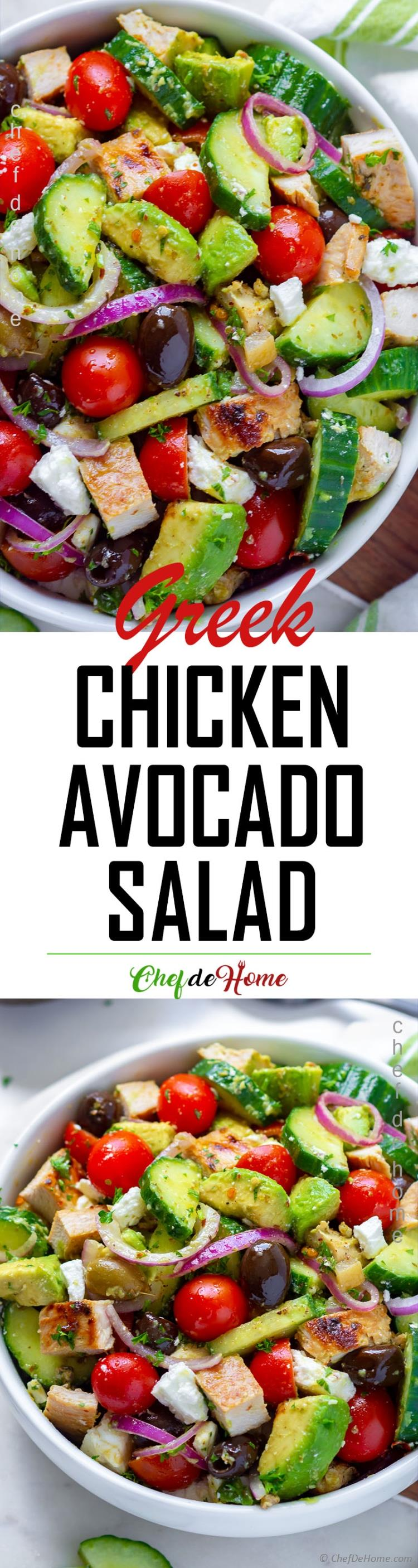 Grilled Greek Chicken avocado and cucumber salad with delicious greek dressing
