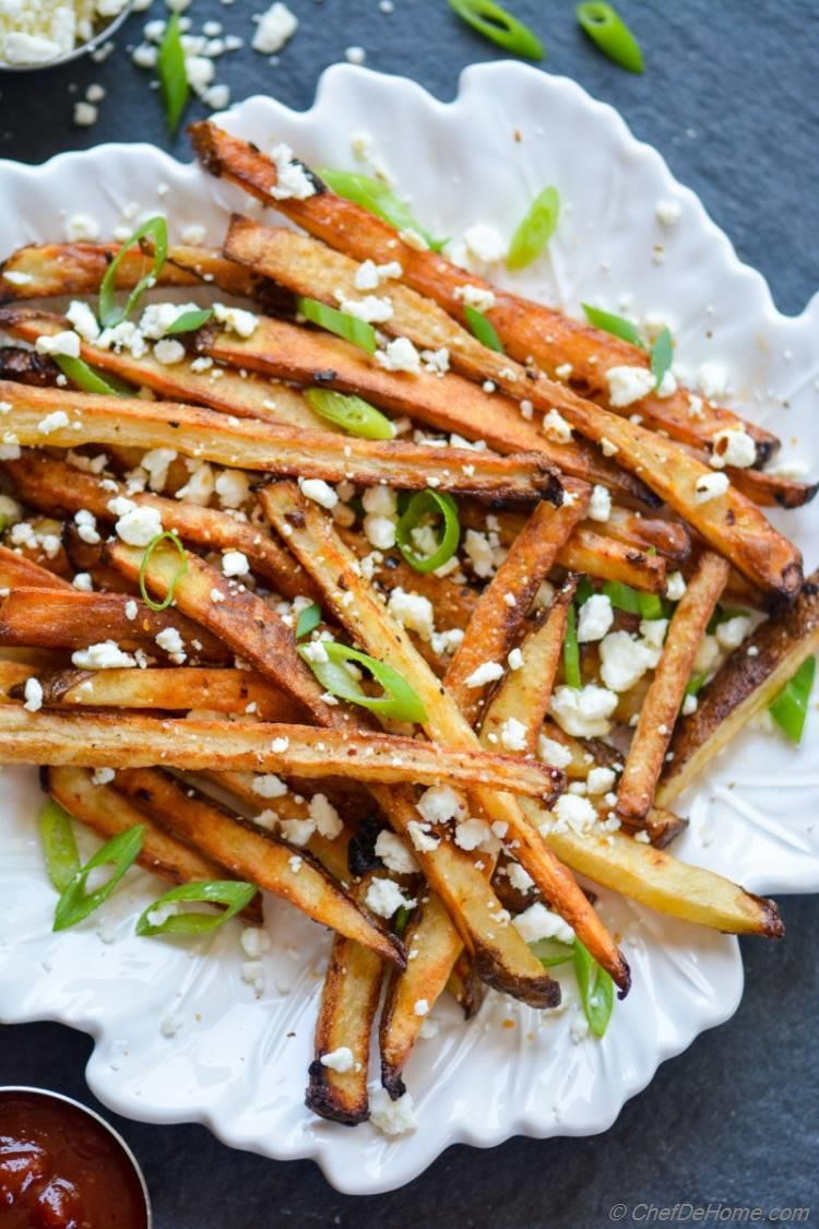 Baked Fries Seasoned with Chipotle and Feta | chefdehome.com