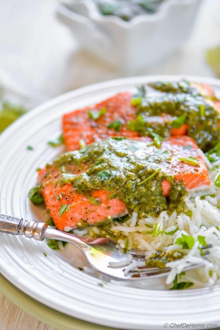 Perfect and easy oven baked salmon dinner with side of cilantro rice and salsa verde | chefdehome.com