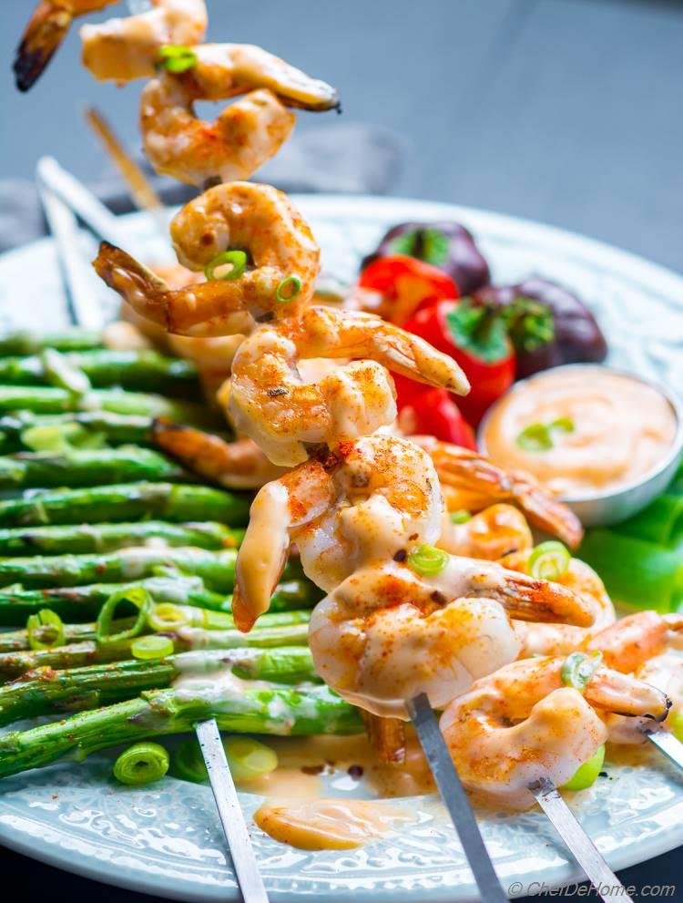 Grilled Shrimp Skewers with Sweet and Spicy Sauce
