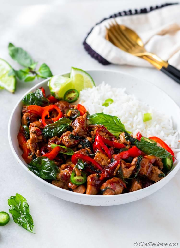 Chicken Stir-fry with Thai Basil and Rice