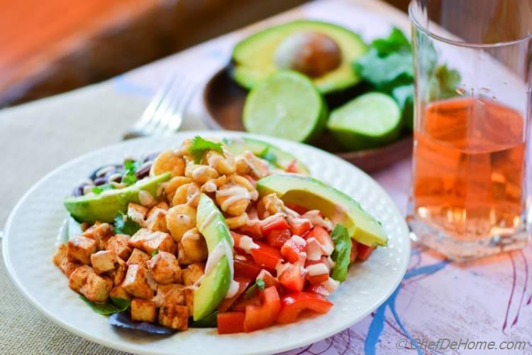 Flavors of Spring in a Salad bowl with this Vegetarian BBQ Tofu Fiesta Salad | chefdehome.com