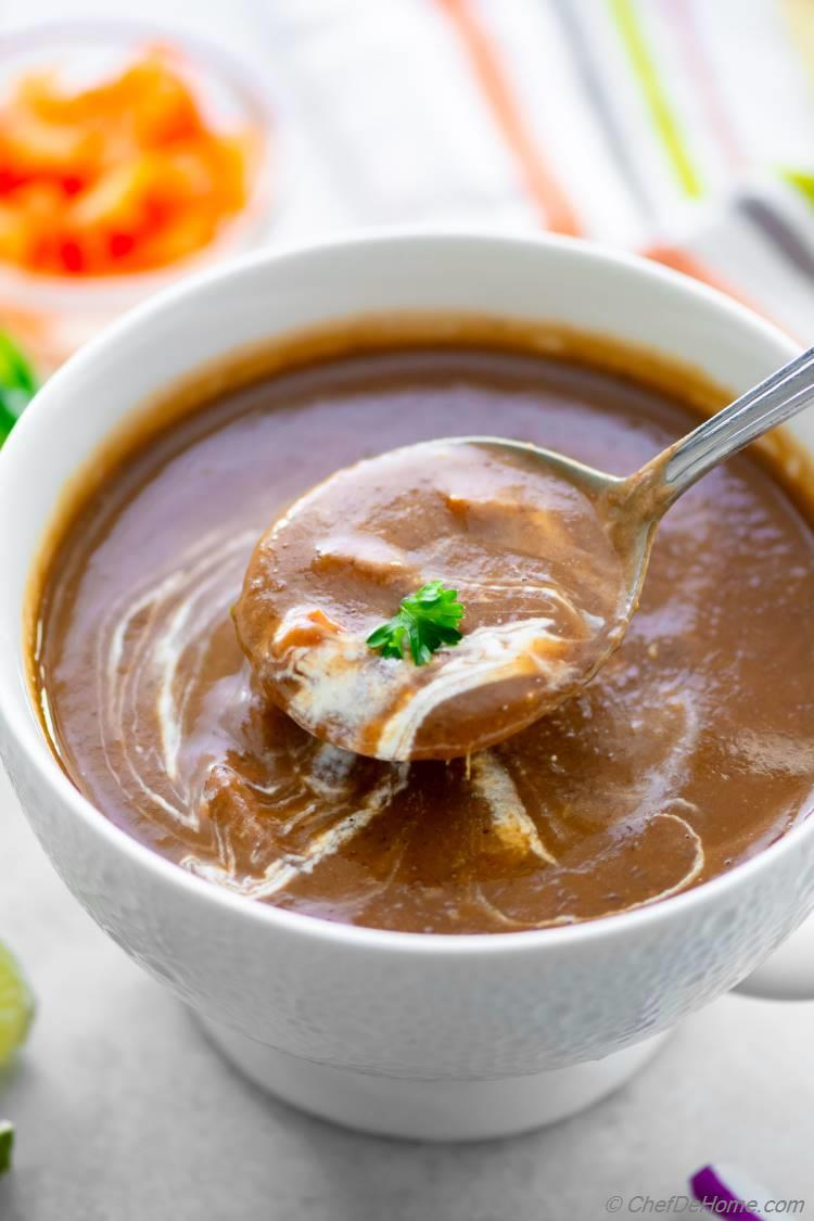 Creamy Black Bean Soup without cream prepared in Instant Pot