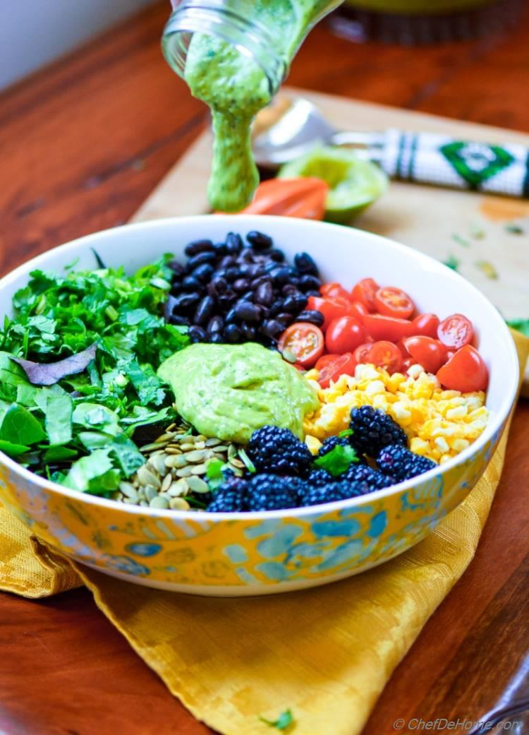 Mexican Black Bean and Berry Salad with Avocado Lime Dressing