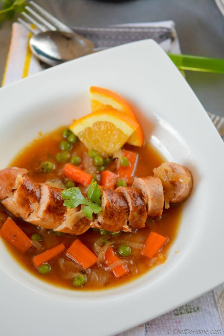 Simply Delicious Beer Braised Chicken with Carrots and Peas