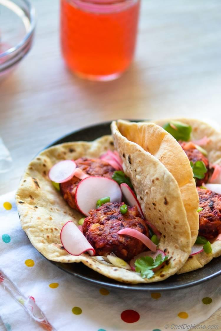 Color of spring in a plate- Beets and Carrot Falafel Tacos | chefdehome.com