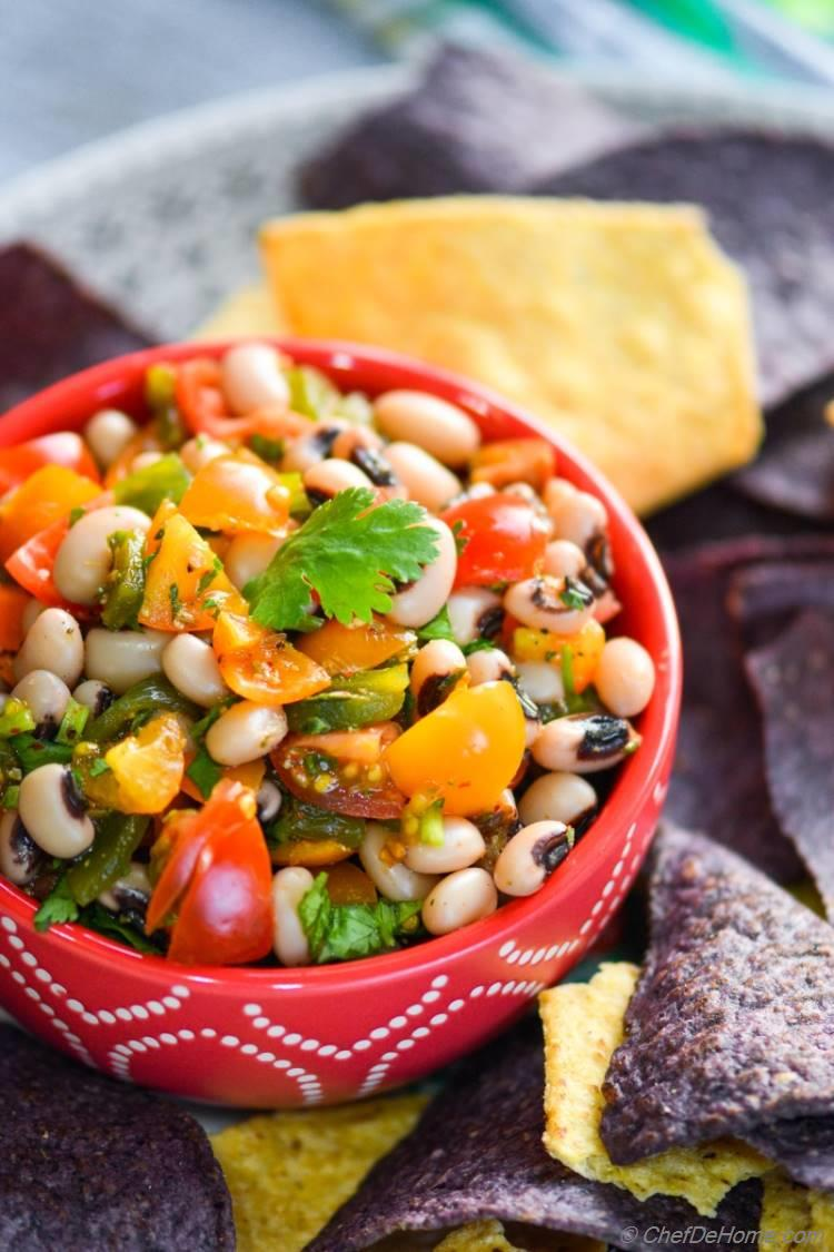 Roasted Poblanos and Black Eyed Peas Salsa
