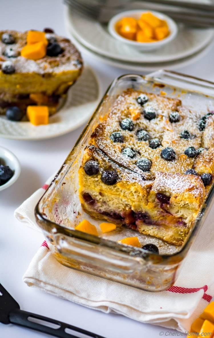 Blueberry Bread Pudding with Mango for Brunch
