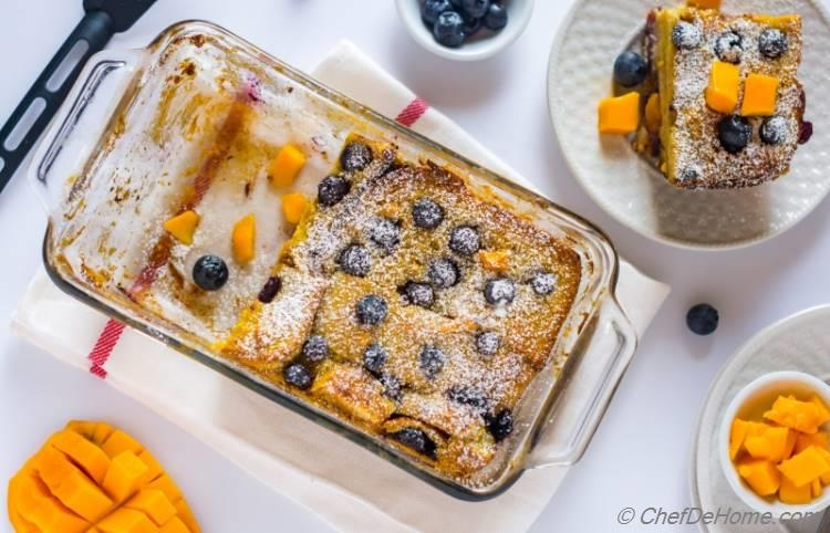 Easy Blueberry Pudding Recipe with fresh mango blueberry and cream