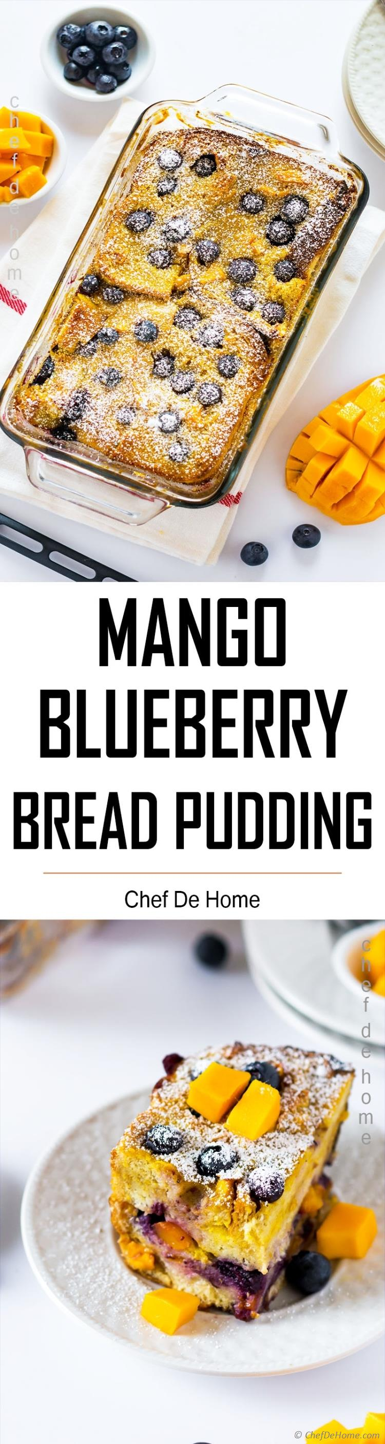 Slice of Blueberry Bread Pudding
