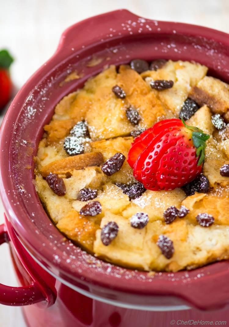 Traditional Bread Pudding prepared in slow cooker for breakfast