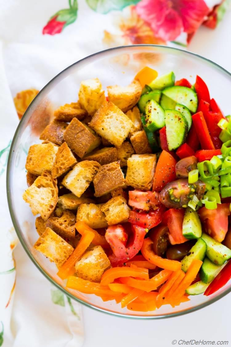 Tomato and Bread Salad with flavorful dressing