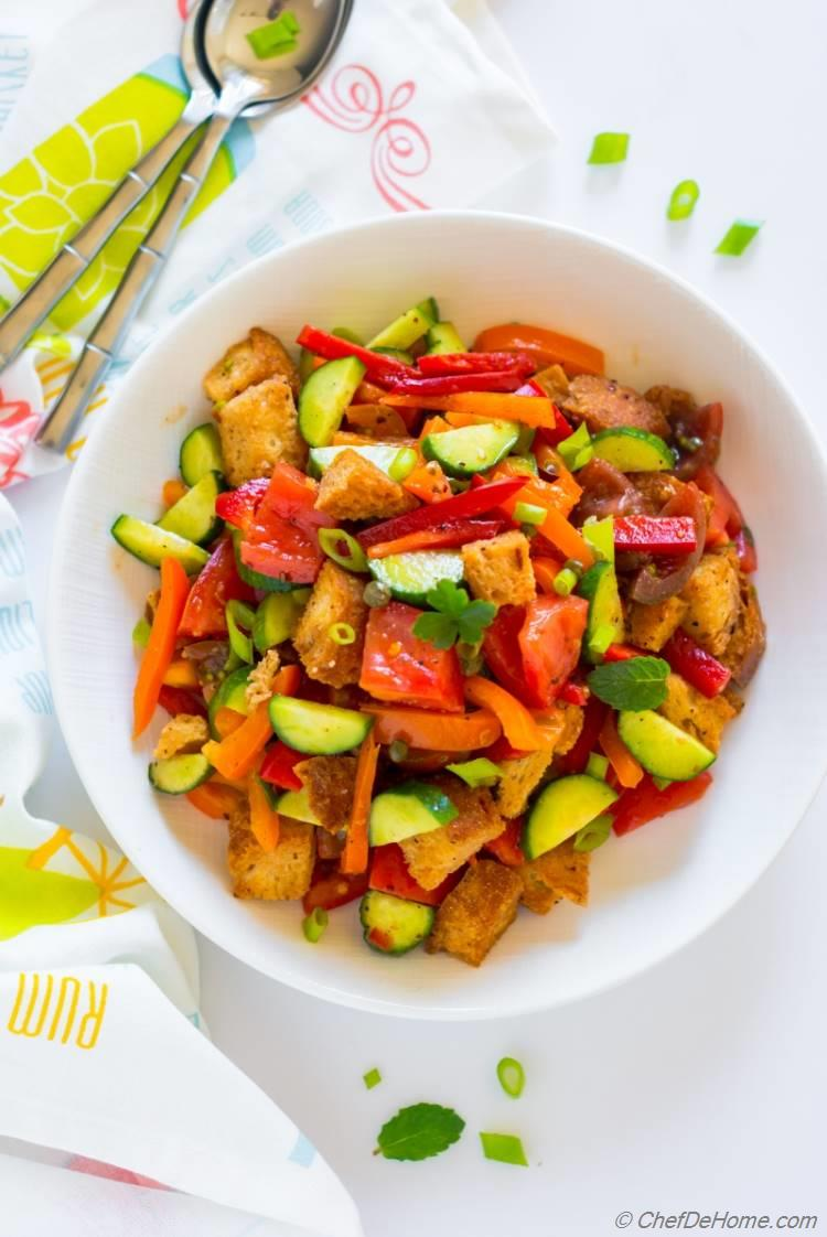 Panzanella Bread Salad with tomato oregano bell peppers and red wine vinegar