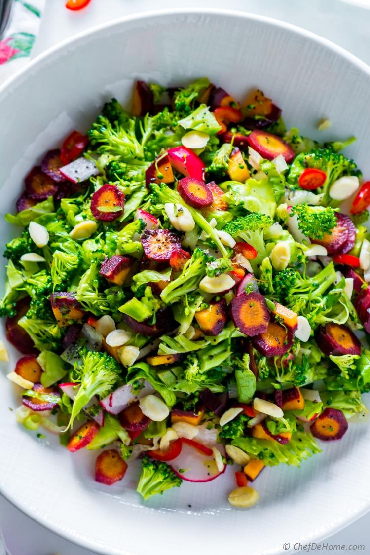 Cold Broccoli Salad with Carrots